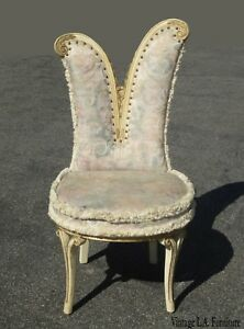 Vintage French Provincial Floral Heart Shaped Accent Chair W Decorative Nails