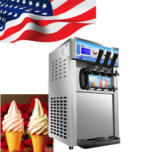 Commercial Soft Ice Cream Making Machine Small Desktop Low Power 3 Flavor 18l h