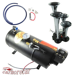 Air Compressor 150 Psi 3 Liter With Chrome Train Air Horn 12v 4 Trumpet New