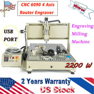2 2kw Cnc 6090 4 Axis Router Engraver Usb Port Engraving Milling Machine Top Us
