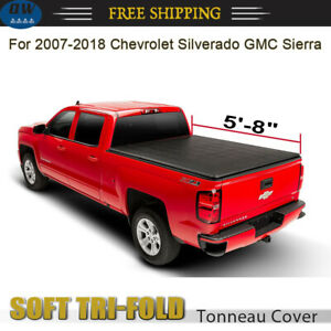 For 2007 2018 Silverado Sierra 1500 Crew 5 8ft Bed Tri Fold Soft Tonneau Cover