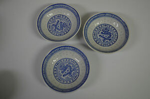 Porcelain Rice Bowl Blue And Off White Bowl Trinket Set Made In China