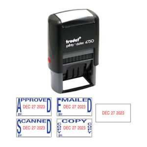 Economy 5 in 1 Date Stamp Self inking 1 X 1 5 8 Blue red