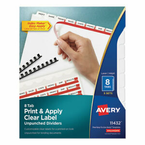 Print And Apply Index Maker Clear Label Unpunched Dividers 8tab Letter 5 Sets