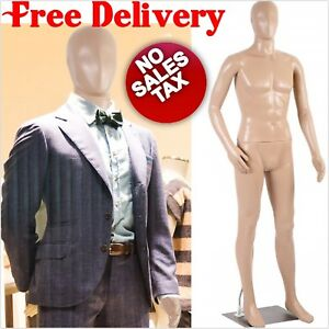 Male Full Body Realistic Mannequin Display Dress Form Plastic Adjustable Posture