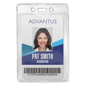 Security Id Badge Holder Vertical 3 3 8w X 4 1 4h Clear 50 box