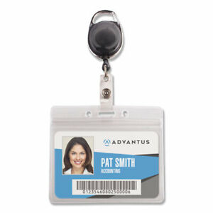 Resealable Id Badge Holder Cord Reel Horizontal 3 3 4 X 2 5 8 Clear 10 pack