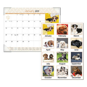 Puppies Monthly Desk Pad Calendar 22 X 17 2019