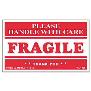 Fragile Handle With Care Self adhesive Shipping Labels 3 X 5 500 roll