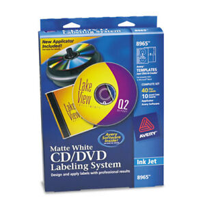 Cd dvd Design Labeling Kits Matte White 40 Inkjet Labels And 10 Inserts