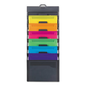 Cascading Wall Organizer 14 1 4 X 33 Letter Gray With 6 Bright Color Pockets