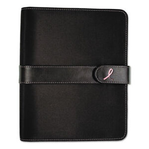 Pink Ribbon Loose leaf Organizer Set 5 1 2 X 8 1 2 Black Microfiber Cover
