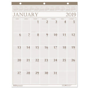 Recycled Large Print Monthly Wall Calendar Leatherette Binding 20 X 26 2019