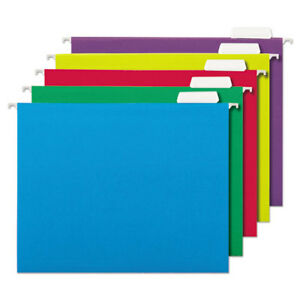 Hanging File Folders 1 5 Tab 11 Point Letter Assorted Colors 25 box