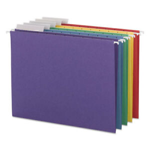 Color Hanging Folders With 1 3 cut Tabs 11 Pt Stock Assorted Colors 25 bx