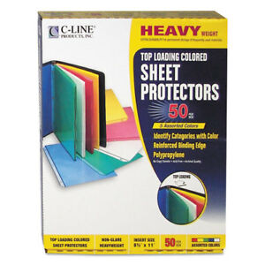 Colored Polypropylene Sheet Protector Assorted Colors 2 11 X 8 1 2 50 bx