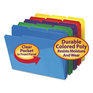 Slash Pocket Poly File Folders 1 3 Cut Top Tab Letter Assorted 30 box