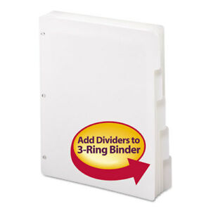 Three ring Binder Index Divider 5 tab 11 X 8 5 White 1 Set