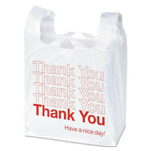 Plastic thank You Shopping Bag 11 5 X 3 15 X 22 0 55 Mil White red 250 bx