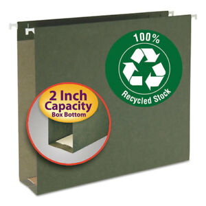 Two Inch Capacity Box Bottom Hanging File Folders Letter Green 25 box