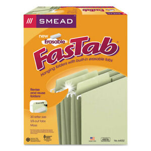 Erasable Fastab Hanging Folders 1 3 cut Letter 11 Point Stock Moss 20 box