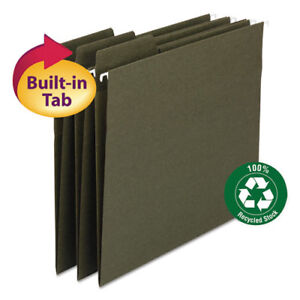 Fastab Recycled Hanging File Folders Letter Green 20 box