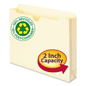 100 Recycled Top Tab File Jackets Letter 2 Exp Manila 50 box