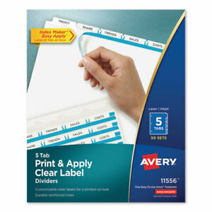 Print Apply Clear Label Dividers W white Tabs 5 tab Letter 50 Sets