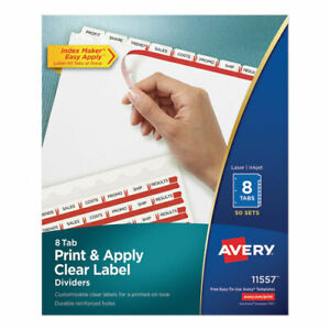 Print And Apply Index Maker Clear Label Dividers 8 White Tabs Letter 50 Sets