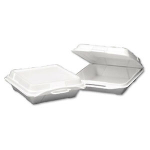 Foam Hinged Carryout Container 1 compartment 9 1 4x9 1 4x3 White 100 bag
