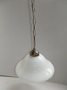 Suspended Chandelier Chain Brass With Glass Opaline White 10 3 16in E27