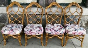 Vintage Rattan Bamboo Lane Dining Chairs Set Of 4 Chippendale Chinese Palm Beach
