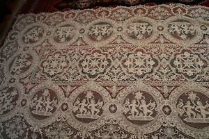 Antique Point De Venise Needle Lace Figural Tablecloth With Medallions 134x67 3