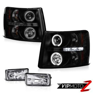 Dark Smoked Projector Headlights Crystal Clear Bumper Fog Lights 07 13 Silverado