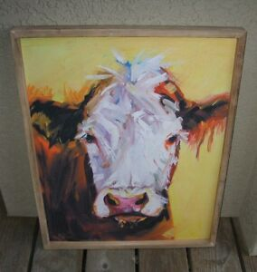 Textile Cow Wall Picture Wood Frame Primitive French Country Farmhouse Decor