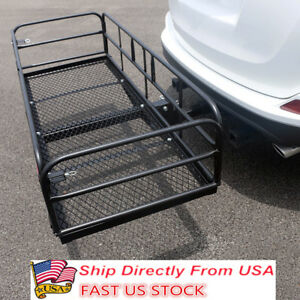 60 Steel Folding Hitch Mount Cargo Carrier Rack 500lb Capacity Black Luggage