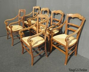 Six Vintage French Country Rustic Oak Dining Chairs W Rush Seats Rolled Armrests