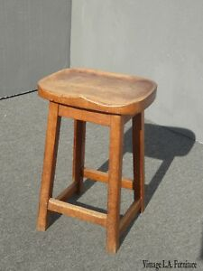 Vintage French Country Farmhouse Chic Rustic Oak Stool W Saddle Seat