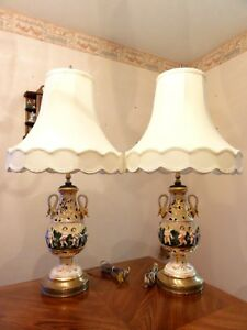 Vtg Capodimonte Italy Pierced Porcelain Swan Handles Pair Of Cherubs Table Lamps