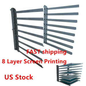 Us Stock Wall Fixed 8 Layer Screen Printing Shop Frame Rack Storage Holder