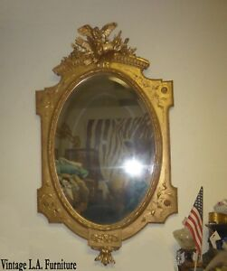 Large Antique French Rococo Louis Xvi Ornate Gold Wall Mantle Mirror Bird Motif