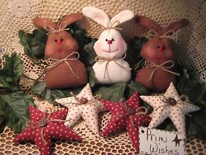 Country Fabric 3 Rabbits 4 Stars Bowl Fillers Wreath Making Easter Home Decor