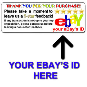 Custom Personalized Ebay Thank You 5 Star Shipping Labels Stickers 1 X 2 625