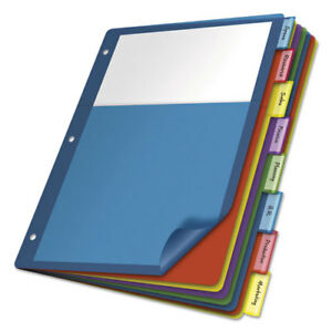 Poly 1 pocket Index Dividers Letter Multicolor 8 tabs set 4 Sets pack