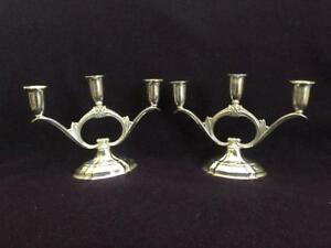 Rogers Bros Silverplate Eternally Yours Candelabra Candlestick Pair