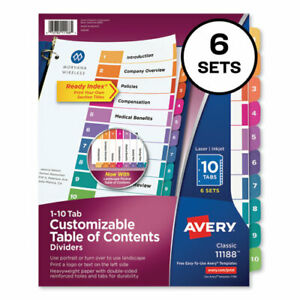 Ready Index Customizable Table Of Contents Asst Dividers 10 tab Ltr 6 Sets
