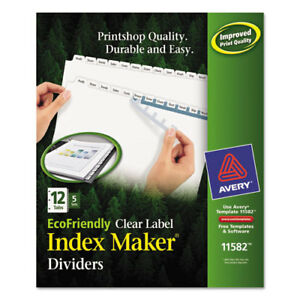 Index Maker Ecofriendly Print And Apply Clear Label Dividers With White Tabs