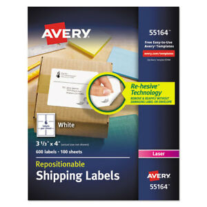 Repositionable Shipping Labels Inkjet laser 3 1 3 X 4 White 600 box