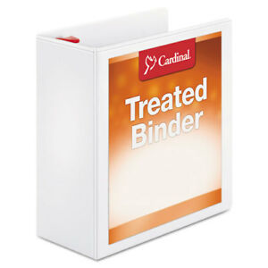 Treated Binder Clearvue Locking Slant d Ring Binder 4 Cap 11 X 8 1 2 White