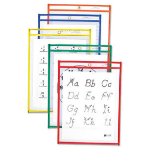 Reusable Dry Erase Pockets 9 X 12 Assorted Primary Colors 25 box